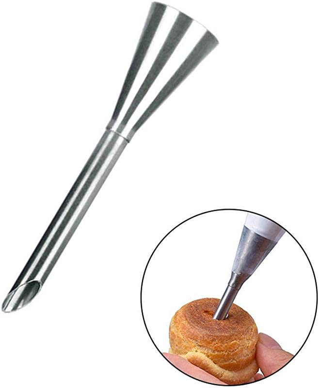 Lesgos Cream Icing Piping Nozzle Tip Stainless Steel Long Puff Nozzle Tip Injector Cake Pastry Decorating Tool For Puffs Cup Cakes Cream And Crowded Butter