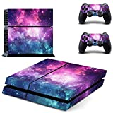UUShop Purple Starry Galaxy Vinyl Skin Decal Sticker Cover Set for Sony PS4 Console and 2 Dualshock Controllers Skin
