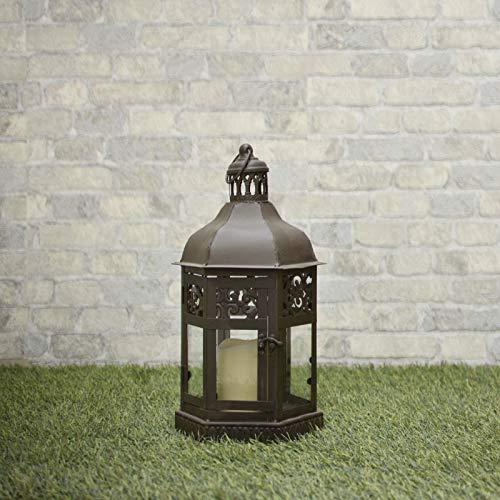 chemin_de_campagne Lanterne Marron Fer Métal Style Tempête 46 cm