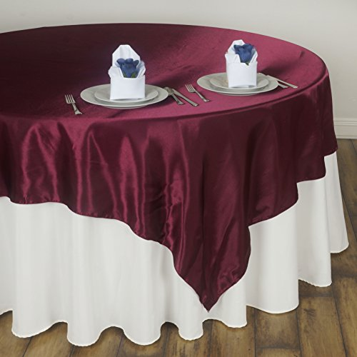 BalsaCircle 90x90-Inch Burgundy Satin Table Overlays - Wedding Reception Party Catering Table Linens Decorations