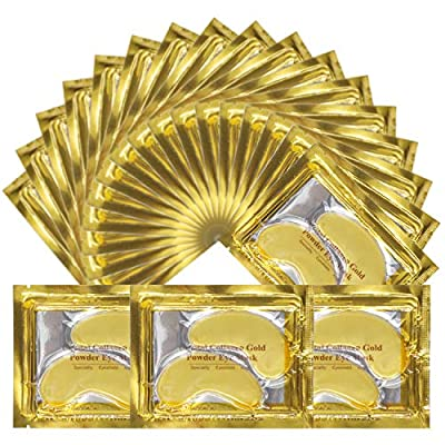 Crystal 24K Gold Eye Mask, Anti-Aging Hydrolyzed Collagen and Hyaluronic Acid Under Eye Patches for Under Eye Wrinkles, Dark Circles, Hydrating, Puffy Eyes(25 Pairs) from purvigor