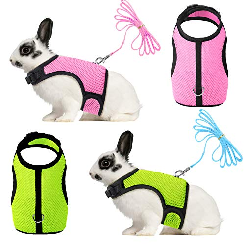 SATINIOR 2 Pieces Bunny Rabbit Harness with Leash Cute Adjustable Buckle Breathable Mesh Vest for Kitten Puppy Small Pets Walking (L, Green, Pink)