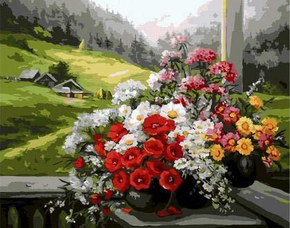 DIY Pintar por númerosFlores de Primavera en el Porche, decoración de Paredes para Colorear sobre Lienzo 40x50cm Sin Marco