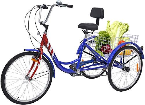 Best Practical Tricycle: Barbella Adult Tricycles, 7 Speed Adult Trikes 24/26 inch 3   Wheel Bikes