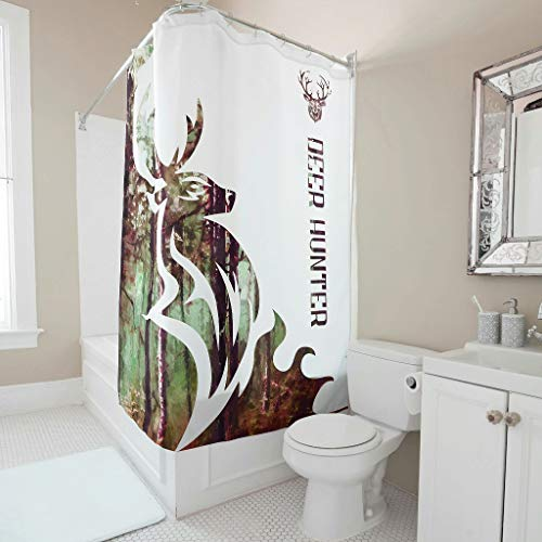 Lind88 Deer Hunter Shower Curtain Pattern Hotel Quality Reinforced Buttonholes Curtains Rings Inclued - for Dormitory Decorate white 180x180cm