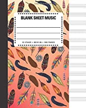 Blank Sheet Music: Bird Feathers Cover Book 8x10