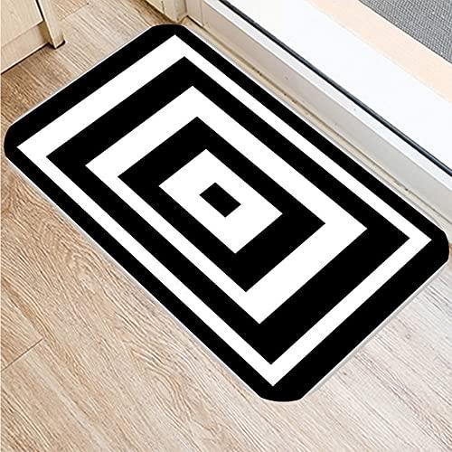 OPLJ Felpudo de Bienvenida de Entrada con impresión geométrica nórdica en Blanco y Negro, Alfombra Absorbente Antideslizante para baño...
