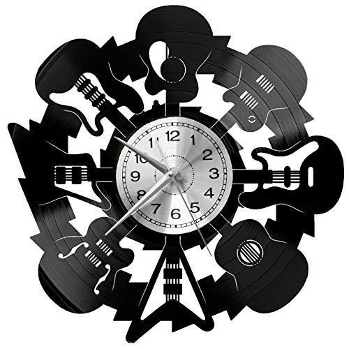WoD Gitarre Wanduhr Vinyl Schallplatte Retro-Uhr groß Uhren Style Raum Home Dekorationen Tolles Geschenk Uhr