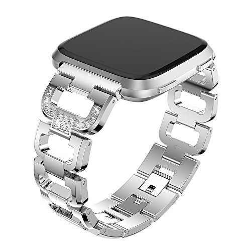Maxjoy Compatible with Fitbit Versa Bands, Versa 2 Metal Band Large Small Diamond Rhinestone Bracelet Women Replacement Wristband Compatible with Fitbit Versa/ Versa 2/ Versa SE/ Lite Watch, Silver