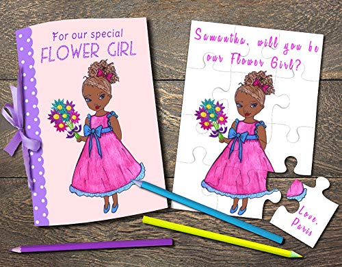 African American Flower Girl, Flower Girl Wedding Coloring Book, Will You Be My Flower Girl Puzzle, Flower Girl Proposal Gift