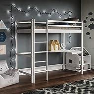 Vida Designs Sydney High Sleeper Bunk Bed, Solid Pine Wood Kids Loft Bed Frame With Desk, Perfect Fo...