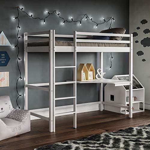 Vida Designs Sydney High Sleeper Bunk Bed, Solid Pine Wood Kids Loft Bed Frame With Desk, Perfect For Children, Single 3 Foot, White