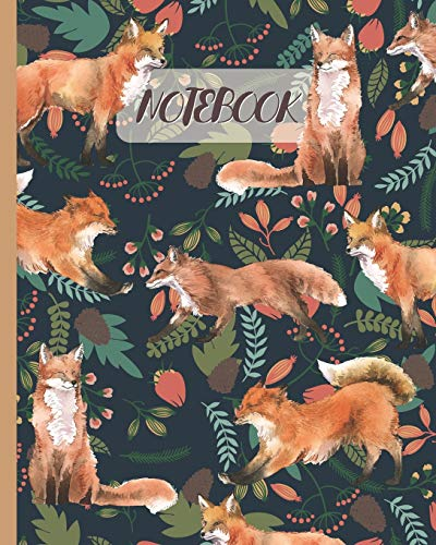 Notebook: Red Foxes Drawing & Floral - Lined Notebook, Diary, Track, Log & Journal - Cute Gift Idea for Kids, Teens, Men, Women (8' x10' 120 Pages)