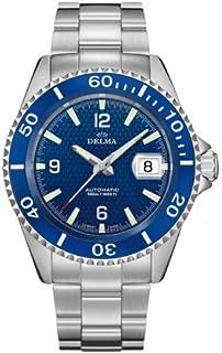 DELMA - Santiago - Reloj de pulsera para hombre (automático, fabricado en Suiza, diámetro de 43 mm), color azul