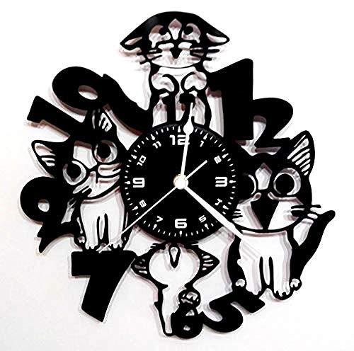 AIYOUBU- TelleruhrWanduhrGeschenk Handgemacht- Tier - Katze