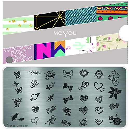 MoYou Nägel XL Braut Plates Kollektion 1, Wunderschöne Blümchen und Herzen- Designs für Stempel- Nagelkunst