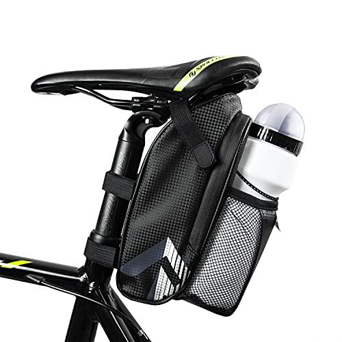 This & That Satteltasche inklusive gratis Trinkflasche als Set mit Flaschenhalterung wasserdichte und reflektierende Fahrradtasche für Fahrradsattel hinten