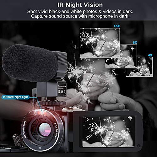 Camcorder Video Camera FHD 1080P 26MP 30FPS 3''LCD Touch Screen WIFI IR Night Vision Digital Camcorders 16X Digital Zoom YouTube Vlogging Camera Recorder with Microphone,Remote Control,2 Batteries