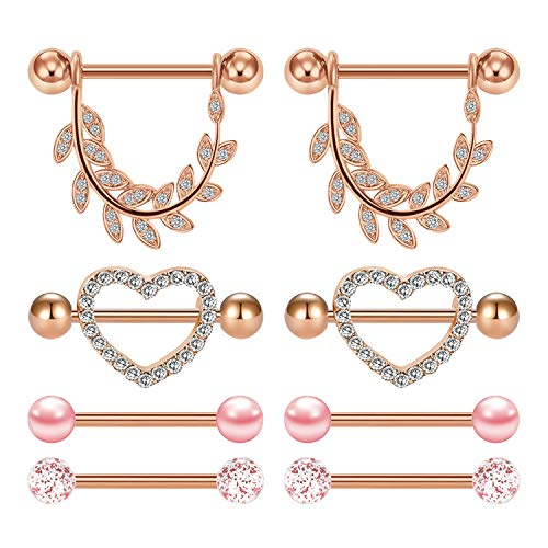 JFORYOU 4 Pairs Stainless Steel Nipple Rings Tongue Ring Piercing Body Jewelry Barbell Cubic Zirconia Leaf Heart Shape Rings for Women Girls Rose Gold