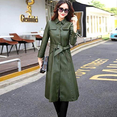 DANWJDP Leren Jas Voor Vrouwen, Lente Herfst Vrouwen Lange Kunstleer Jas Dames Elegante Pu Lederen Jassen Trench Vrouwelijke Groene Mode Met Riem Plus Size Bovenkleding