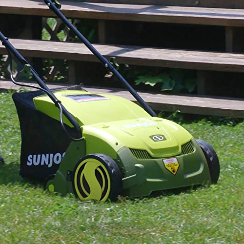 Sun Joe AJ801E 13 in. 12 Amp Electric Scarifier + Lawn Dethatcher w/Collection Bag, Green