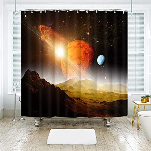 KJGTR DuschvorhangSpace Scene 3D Bunte Space Planet Duschvorhänge wasserdicht verdickt Bad Gardinen für Badezimmer anpassbar