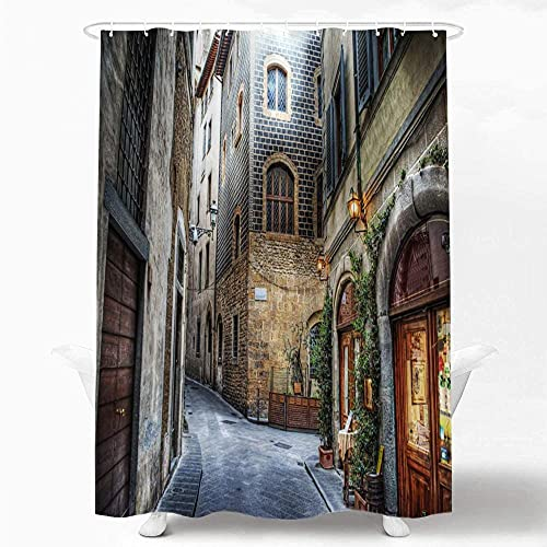 NC88 Beautiful Italy Decorative Shower Curtain Florence Italy Shower Curtain Pattern Bathroom Set Waterproof Polyester Fabric Shower Curtain 72x72 inches with 12 Plastic Hooks