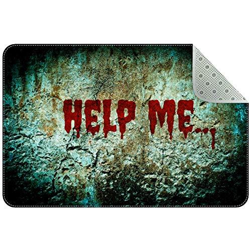 LORVIES Help Me Bloody Scary Wall Indoor Door Mat, Non-Slip Absorbent Doormat Inside Floor Mats Area Rug for Entryway…