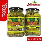 Alimentec Tropical Kosher Dill Baby Whole Pickles, Keto Friendly, 2 x 20 FL OZ Jars