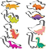Joyoldelf Dinosaur Shaped Cookie Cutters Set, 8pcs Stainless Steel Biscuit Molds for DIY Baking T-Rex Triceratops Stegosaurus Brachiosaurus and More