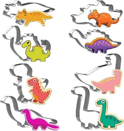 Joyoldelf Dinosaur Shaped Cookie Cutters Set 8pcs Stainless Steel Biscuit Molds for DIY Baking T-Rex Triceratops Stegosaurus Brachiosaurus and More