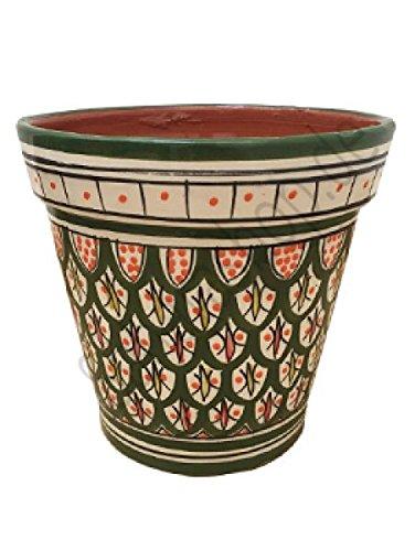 Saharashop Marokkanischer Keramik-Blumentopf Dunkelgrün 20 cm