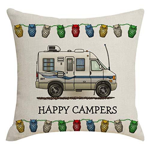 OPAKY Happy Camper Picknick Auto Text Dekoration Leinen Kissenbezug Haushaltsgegenstände