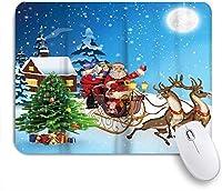 KAPANOUマウスパッド クリスマスサンタクロースと鹿の木の月の夜 ゲーミング オフィス最適 高級感 おしゃれ 防水 耐久性が良い 滑り止めゴム底 ゲーミングなど適用 マウス 用ノートブックコンピュータマウスマット