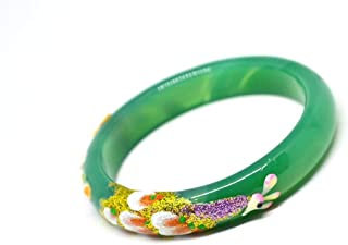 Natural Green Agate Painted Peacock Peony Flower Bracelet Fashion Temperament Jewelry Gems Accessories Gifts Wholesale
