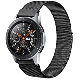22mm Bands Compatible with Samsung Galaxy Watch 3 45mm / Galaxy Watch 46mm / Gear S3 Frontier Classic Band, 22mm Width Stainless Steel Mesh Loop Replacement Wristband Strap (Black #22mm)