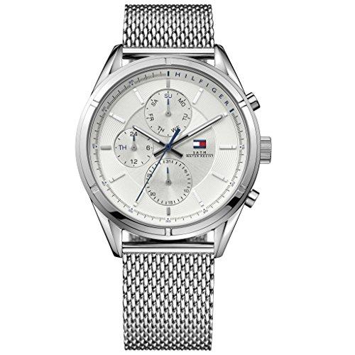 Tommy Hilfiger 1791128 Charlie Uhr Herrenuhr Edelstahl 50m Analog Datum Silber
