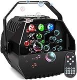 AONCO Mini Seifenblasen Maschine with RGB Lichter, Starker Ausstoß, Tragbare Seifenblasenmaschine für Kinder und Erwachsene Familienfeiern, Kinderfeste, Hochzeiten, Bühnenshows