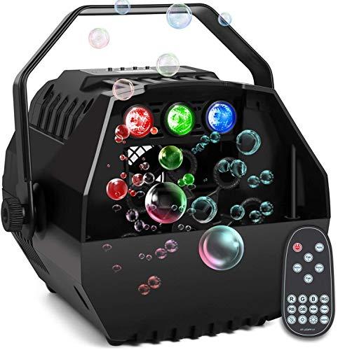 Portable Machine à Bulles de Savon, AONCO RGB Lumières Bubble Machine Automatique à Bulles de Savon Alimenté par Batterie ou Prise avec Télécommande pour Enfants Fête Mariage Éclairage de Scène
