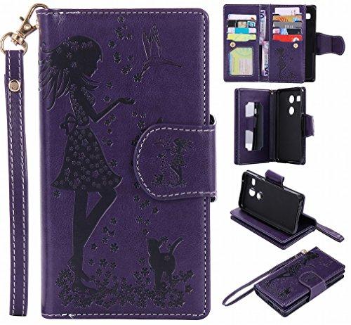 Yiizy Handyhülle für LG Nexus 5X Hülle, Mädchen Prägung Entwurf PU Ledertasche Beutel Tasche Leder Haut Schale Skin Schutzhülle Cover Stehen Kartenhalter Stil Schutz (Purpur)