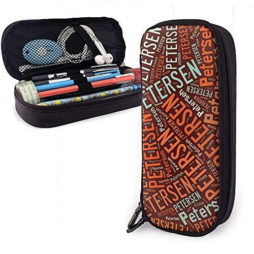 Petersen - American Nachnamen Hochleistungs-Federmäppchen aus Leder Stift Schreibwaren Halter Veranstalter College Makeup Pen Stuff Reisetasche