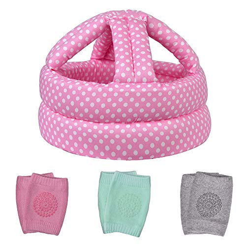 TORASO Baby Head Protector & Baby Knee Pads for Crawling, Infant Safety Helmet & Walking Baby Helmet, for Age 6-36 Months, Pink Dots(B)