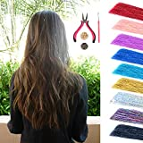 Hair Tinsel Strands Kit, Glittery Tinsel Fairy Hair Extensions with Tools (a Plier+a Pulling Needle+200pcs Silicon Lined Beads), 9 Colors Pack