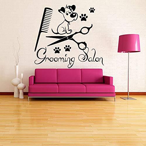 yaonuli Vinilos Decorativos para salón de Belleza vinilos Decorativos Adhesivos de Pared Animal Perro Tienda de Mascotas Cachorro Paso Peine extraíble42X38cm