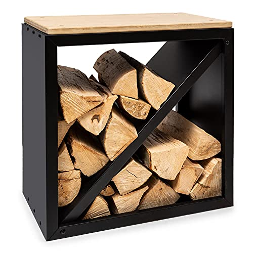 Blumfeldt Firebowl Kindlewood - Banco con Almacenamiento para leña o carbón, Estructura de bambú y Acero, para Interiores y Exteriores, con tabique Diagonal, 57 x 56 x 36 cm, Negro