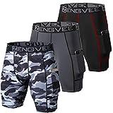 ZENGVEE 3 Piezas Mallas Cortas Hombre Running Pantalones Cortos Hombre de Mallas para Deporte, Fitness, Gym(Black Grey Camo Black-M)