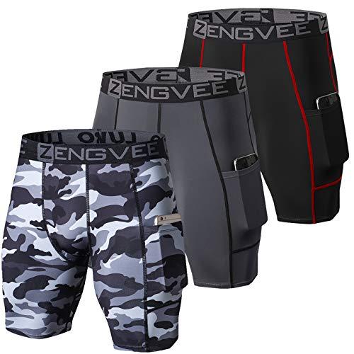 ZENGVEE Men's 3 Pezzi Compressione Uomo Pantaloncini Calcio Cool Dry Baselayer Pantalone Termico Uomo Leggins Uomo Palestra(Black Grey Camo Black-S)