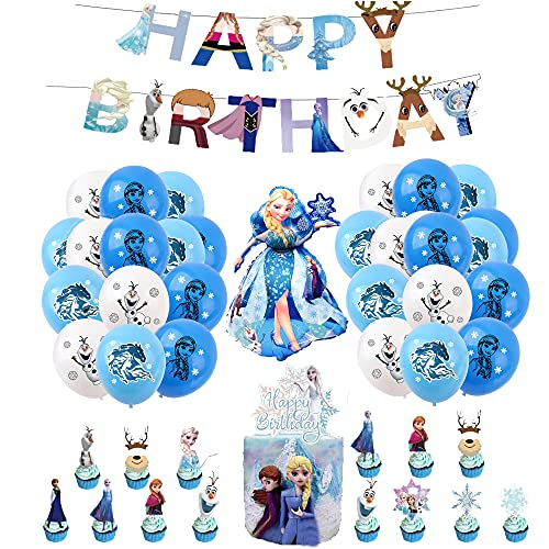 Decorazione per Feste di Compleanno Congelatas Palloncini Striscioni di Buon Compleanno Topper per Torta Palloncino in Alluminio per Bambini Decorazioni di Compleanno Frozen
