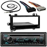 Kenwood Single DIN Bluetooth SiriusXM Ready CD Player Car Stereo Receiver, Radio Wiring Harness, Single DIN Installation Kit, AM/FM Antenna (Fits Select 1984-2003 Chrysler Jeep Vehicles)