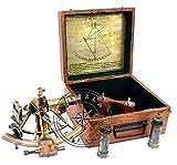 Hanzla Collection Maritime Antique Brass Henry Barrow Náutico Barco Sextante 8 'Con Telescopio Extra 2
